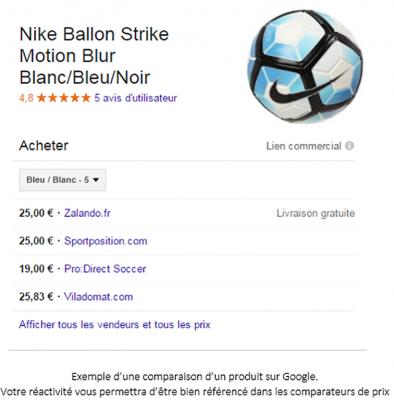 Comparatif produit Google