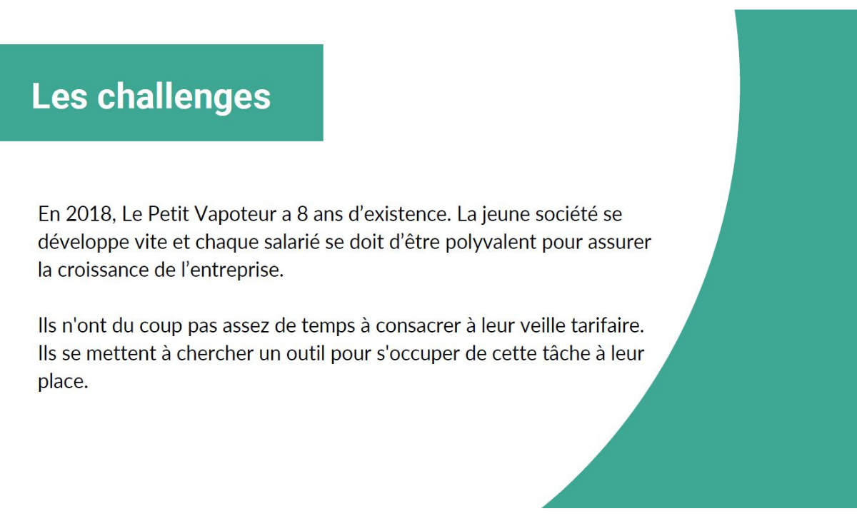 Etude de cas Le Petit Vapoteur - PriceComparator