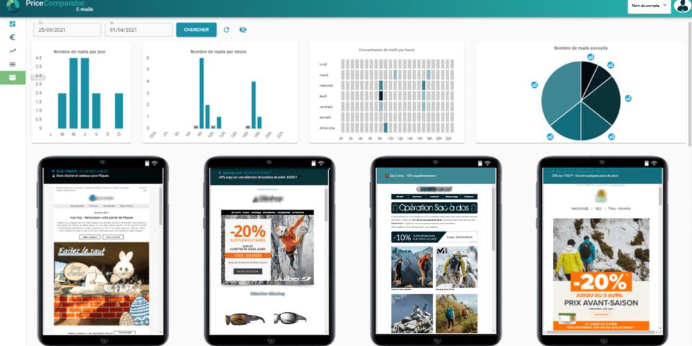 Veille et analyse des campagnes e-mailing et newsletters des sites surveillés - PriceComparator
